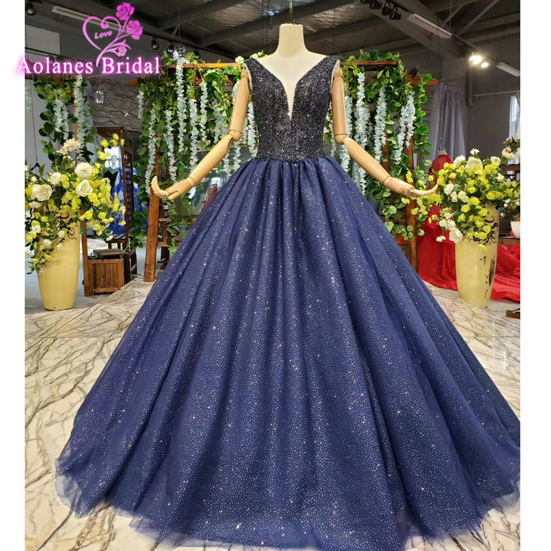 Navy Blue Evening Dresses Long Party A-line Pearls Beads Glitters Formal Evening Prom Party Gown 2019 New Robe De Soiree Longue