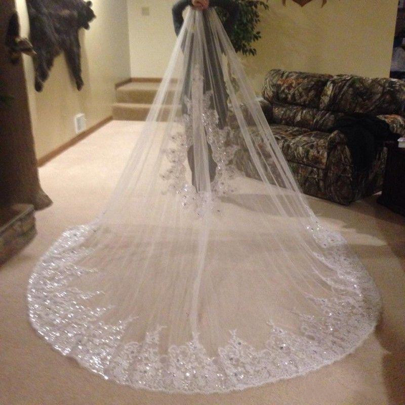 Bling Bling Crystal Beading Lace 1T Bridal Wedding Veils Cathedral Length 3m Long Bridal Veils With Comb Customized