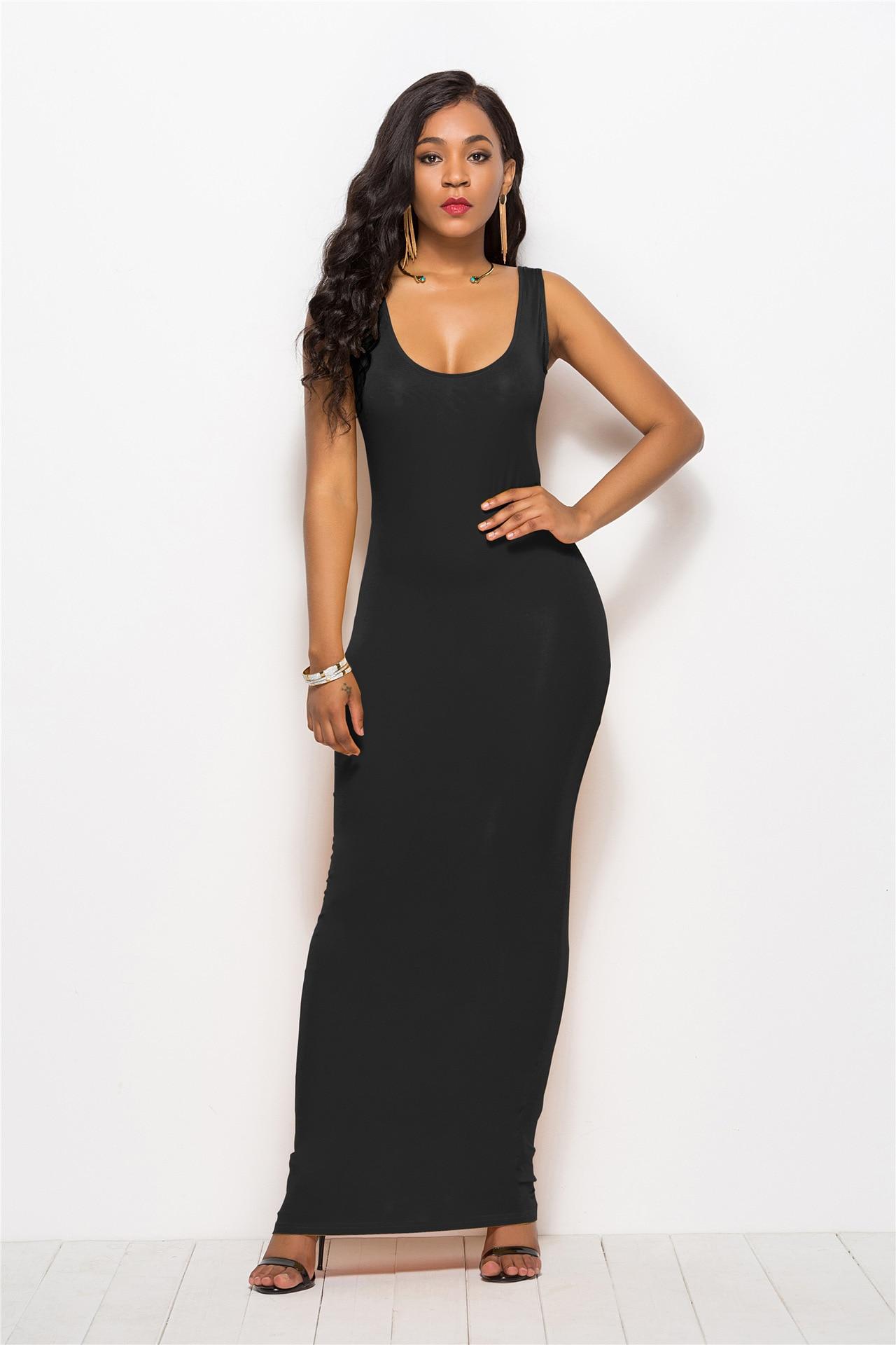 Women's Sexy Vest Long Dress Classic Fashion Elastic Dress