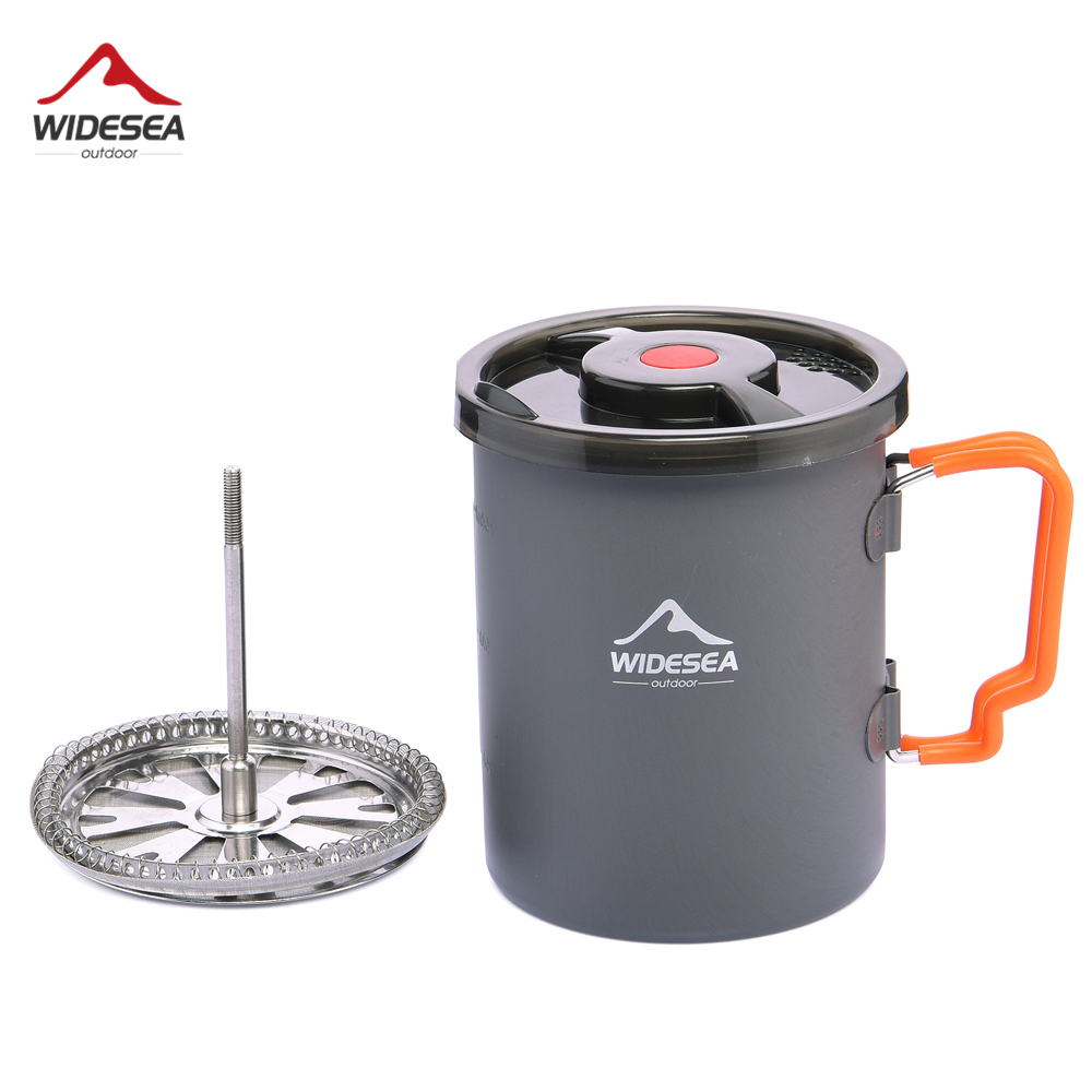 Widesea Camping Coffee Pot With French Press Outdoor Cup Mug Cookware For Hiking Trekking
