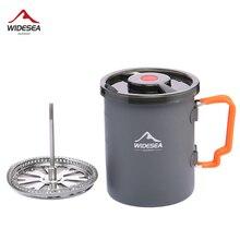 Widesea Camping Kaffee Topf mit Französisch Presse Außen Tasse Becher Kochgeschirr für Wandern Trekking