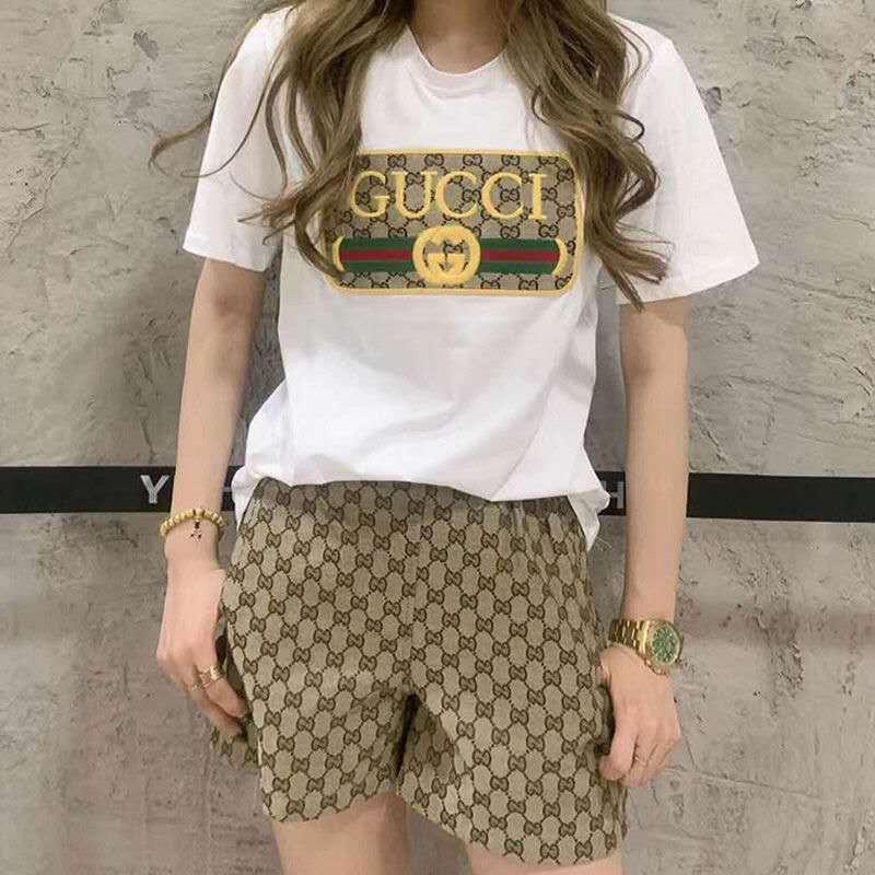 Fashionable wide leg pants suit women's summer Elastic Waist Shorts + Short Sleeve T-Shirt