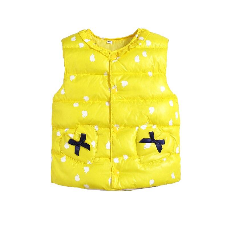 Милый жилет с хлопковой подкладкой ярких цветов для детей, зимний легкий жилет в горошек для маленьких девочек, выходящее теплое пальто для детей, топ для мальчиков - Цвет: yellow