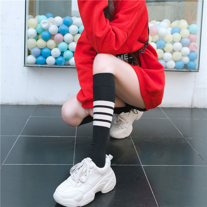 KingDeng Woman Winter Stripe Cotton Knee Harajuku Art Socks Kawaii Korean Sheer Black Glitter Socks Aesthetic Luxury Stitch