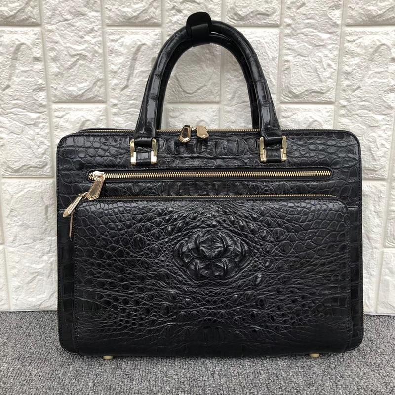 Exotic Alligator Leather Zipper Closure Businessmen Portfolio Bag Large Laptop Handbag Authentic Crocodile Skin Male Briefcase