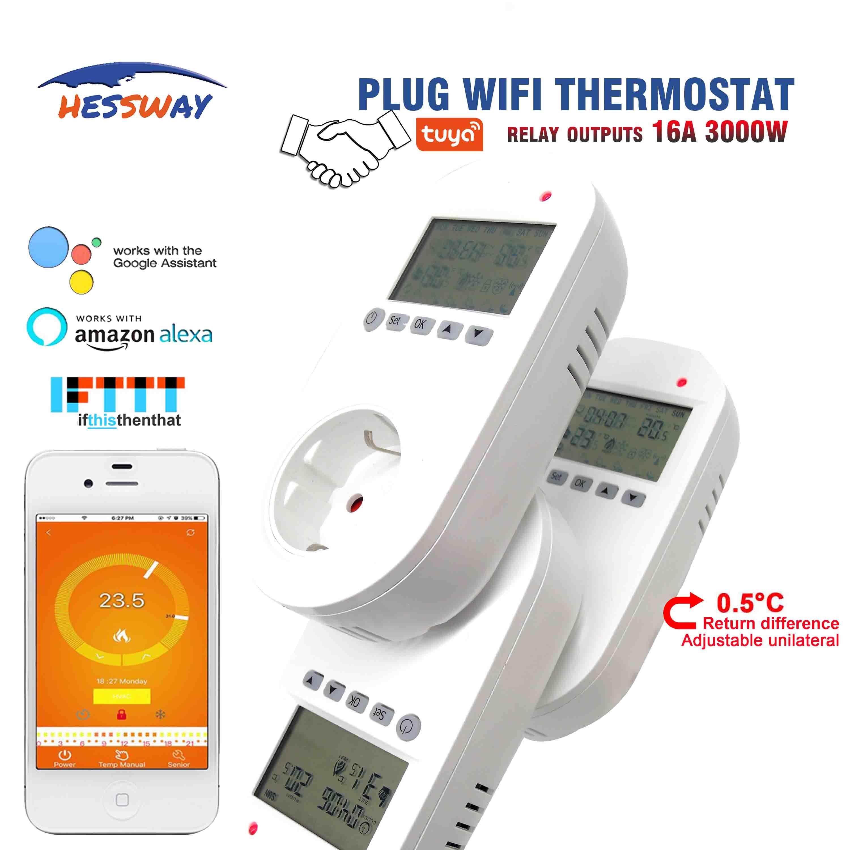 Hessway tuya wifi termostato de aquecimento sem fio 16a para plugue da ue diferença unilateral 0.5 graus|Dispositivos termostáticos p/ laboratório| |  - title=