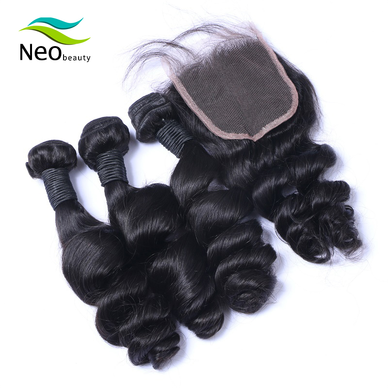 10 A Brazilian Loose Wave Bundles With Closure Human Hair Bundles Virgin Hair For Free Shipping