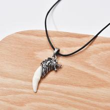 Couple Pendant Necklace Simulated Wolf Pattern Tooth Pendant Women Collier Femme Men Shell Cowrie Summer Jewelry Bohemian men jewelry antique silver tribal stark wolf fang tooth pendant necklace vintage wolf tooth dragon titanium pendant necklace