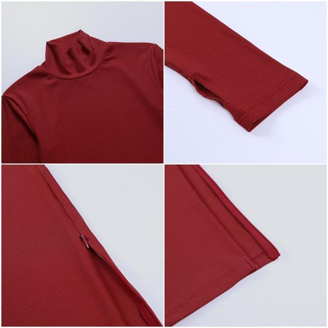 Cybill Long Sleeve Turtleneck Midi Dress Split Autumn Winter Ribbed Knitted Dress Casual Red Black Dresses Women 6
