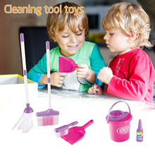 Pretend Play Clean-Toys Furniture-Tools-Kit Doll-House Broom Kids Cute Mini for Gift