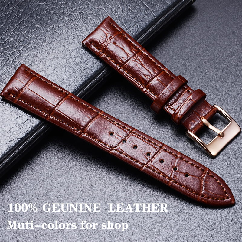 Comfortable Genuine Leather <font><b>Watch</b></font> <font><b>Strap</b></font> <font><b>12</b></font>/14/16/18/19/20/22/24 <font><b>mm</b></font> <font><b>Watch</b></font> Pin buckle Band Soft Wrist Belt Bracelet + Tool image