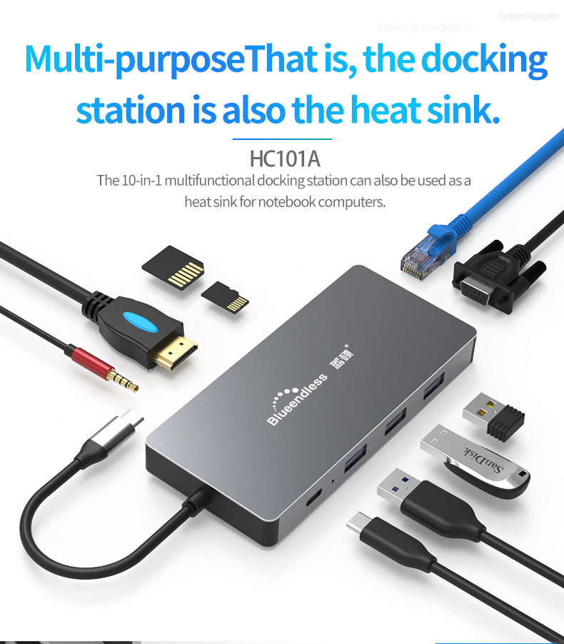 2019 Newly  Converter  10 In 1 USB C Hub Type-C To HDMI USB 3.0 RJ45 PD Adapter Dock Hub For MacBook Laptop