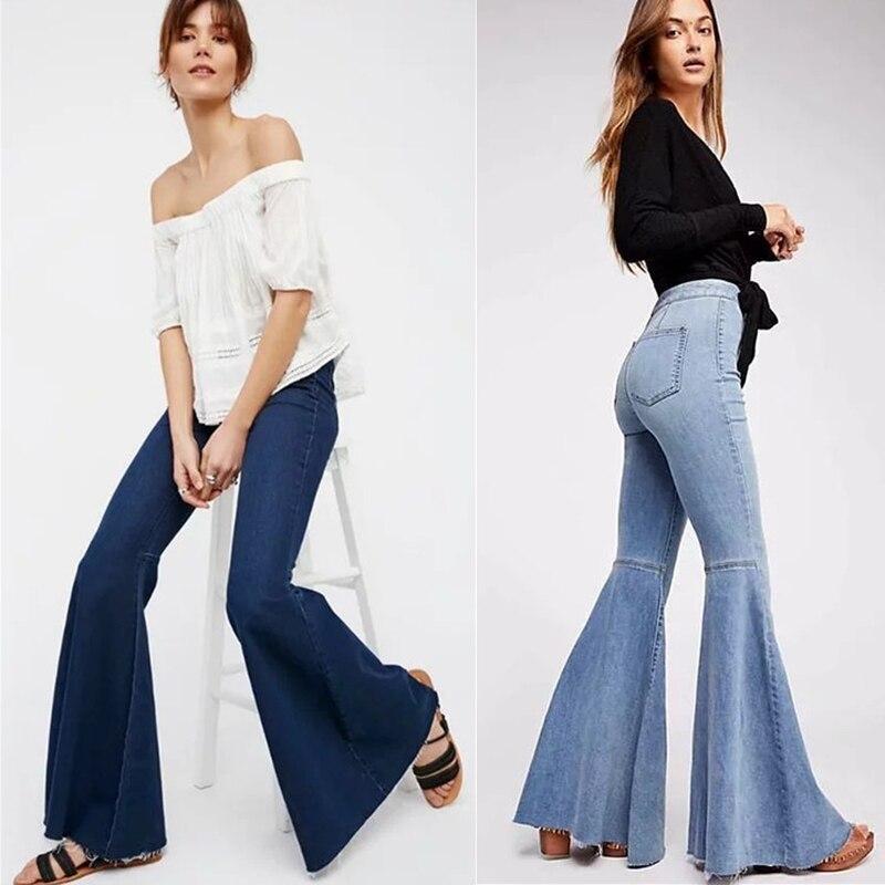 Jeans Woman 2020 Fall Winter Slim Pants Women High Waist Denim Flare Pants Ripped Jeans for Women Plus Size Bell Bottom Jeans
