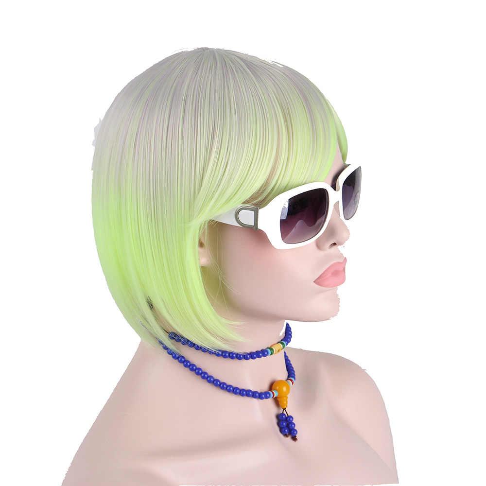 Anxin Korte Bob Pruik Haar Veelkleurige Grijs Licht Shine Green Haren Met Platte Pony Ombre Synthetische Hoge Temperatuur Niet Menselijk