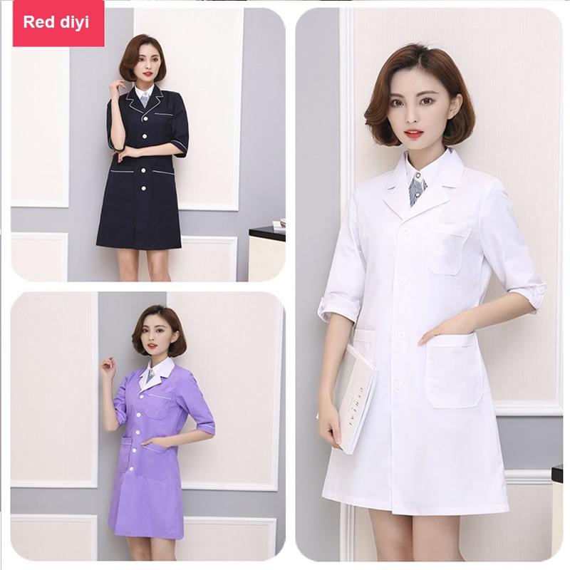 Summer Ladies Medical Robe Large Code Lab Coat Hospital Doctor Slim Multicolour Nurse Uniform Beauty Salon Clothes