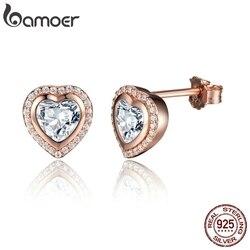 BAMOER, подарок на день рождения, серебро 925 пробы, серьги-гвоздики с одной любовью для женщин, изящная форма сердца, золотой цвет, ювелирное изд...