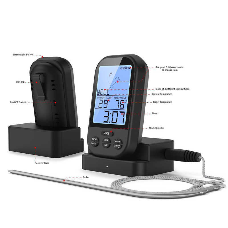 Termómetro Digital inalámbrico para carne BBQ remoto termómetro para cocina para horno parrilla fumador con temporizador-incluye Sonda de alimentos