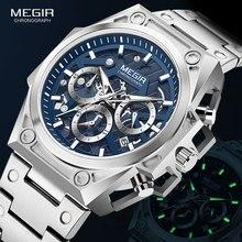 MEGIR Blue Watch Men Stainless Steel Dress Wrist Watch Man Waterproof Chronograph Quartz Watches Relogio Masculino часы мужские
