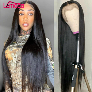 Lace Front Human Hair Wigs Brazilian Straight Human Hair Wigs For Women Lemoda Remy Closure Wig Pre Plucked 360 Lace Frontal Wig(China)