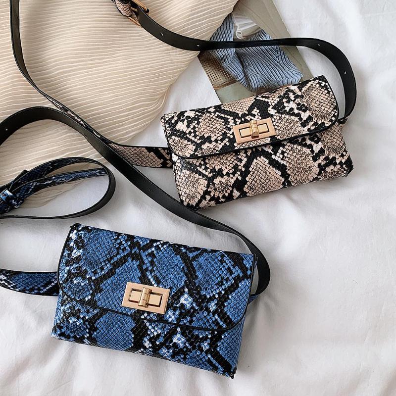 Snake Print Women Shoulder Bag Leather Chest Bags Crosssbody Waist Fanny Packs Sac A Dos Bolsas Feminina Mujer Sac A Main