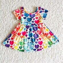 Criança moda verão manga curta vestidos menina colorido coração twirl vestido infantil roupas dos namorados terno