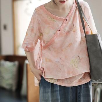 2020 womens chinese cheongsam shirt tops phoenix printing qipao shirt retro traditional qipao blouse plus
