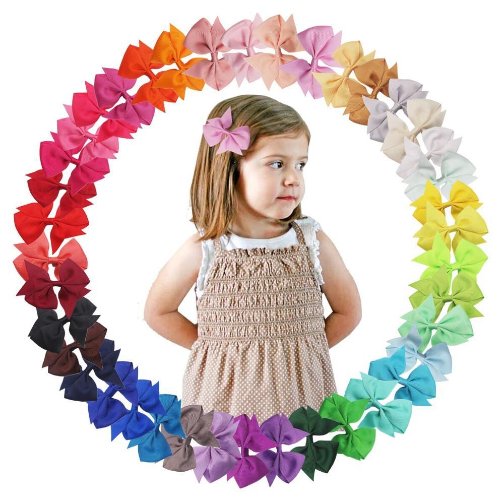 40 Colors Hair Bows For Girls 3.5Inch Grosgrain Ribbon Hair Bows Metal Hair Clips Barrettes Hair Accessories For Baby Girls