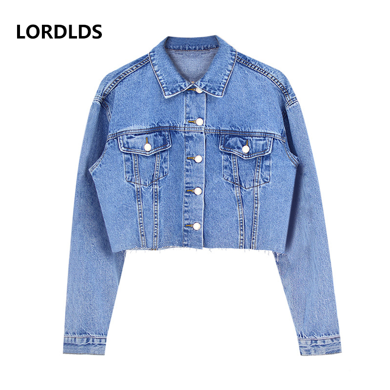 LORDLDS Jeans Jackets Ripped Short Tassels Denim Coat Long-Sleeve Casual Women for Turn-Down-Collar