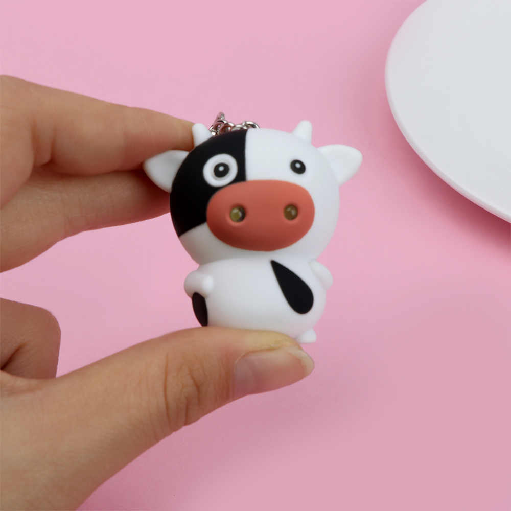 Vaca bonito Luzes LED Chaveiro Chave Anéis de Brilho Vocal Brinquedos Dos Desenhos Animados Mini Lanterna Criança Mulheres Meninas Jóias