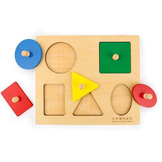 Montessori Sensory Tactile Wood Knob Puzzles Peg Board Geometric Shape Match Color Cognitive Puzzle Board Learning Education Toy 2