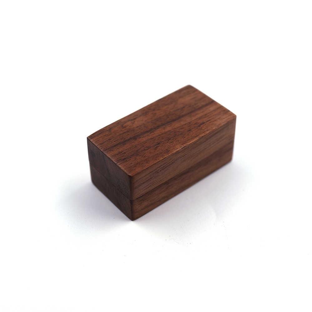 Noce nero Personalizzato Rustico In Legno di Nozze Titolare Anello Su Misura I Vostri Nomi e la Data di Cerimonia Nuziale Ring Bearer Box