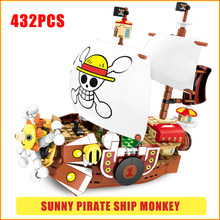 Costume intero Compatibile Legoed Nave Pirata Film 2 Thousand Sunny Nave Pirata Rufy Building Blocks Pirati Amico Giocattoli Dei Mattoni(China)