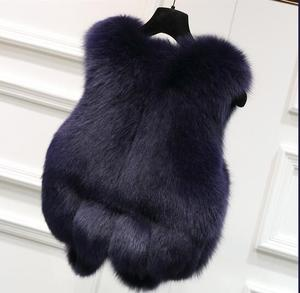 Peludo do falso pele de raposa colete feminino médio curto luxo falso peles coletes casaco 2020 inverno feminino peludo mex colete de pele gilet