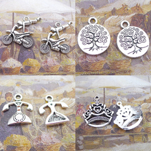 BANMAR 10pcs Charm alloy Motorcycle round Tree of Life telephone queen crown silver plated Pendant For Jewelry Making L2
