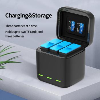 TELESIN For GoPro 9 3 Ways LED Light Battery Charger TF Card Storage Charging Box For GoPro Hero 9 Black 7