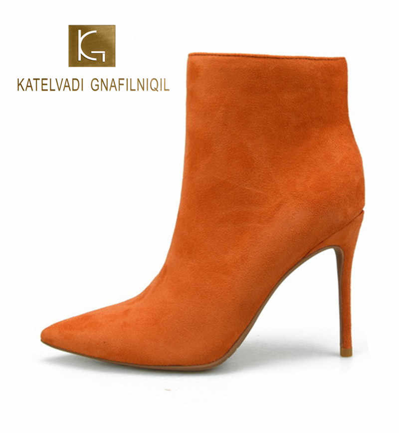 KATELVADI Ankle Boots for Women Pointed Toe Orange Flock Boots 10CM High Heel Boots Shoes Woman Fashion  K-480