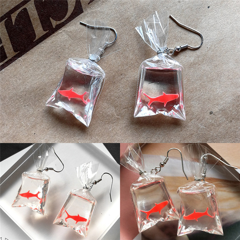 1Pair Koi Fish Water Bag Dangle Earrings For Women New Trendy Girls Anti Allergy Graceful Joker Eardrop Party Gift Decor