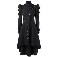 fall 2019 steampunk long sleeve rivet trench coat manteau long femme gotico woman ropa black green overcoat trenchcoat sobretudo