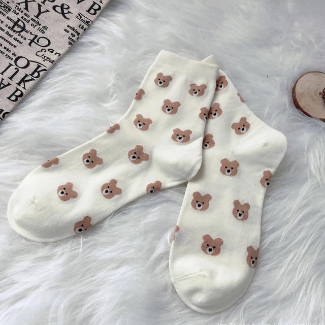 Details about  /Women/'s Teddy bear Socks Pair Fun Cute Socks Free Hugs