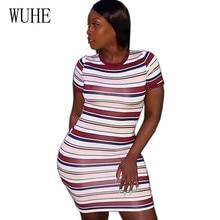 WUHE Retro Striped Women Summer Elegant Mini Dress Sexy O-neck Short Sleeve Casual Streetwear Vestidos De Fiesta Vintage Dresses