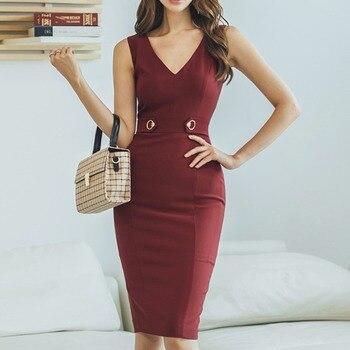 Cross border women's dress 2020 new celebrity fashion slim fit bag hip V-neck sexy bottom dress women
