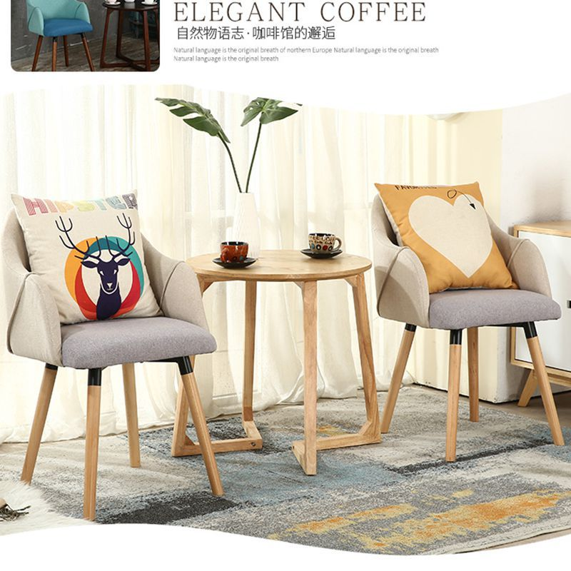 Yulai Cegar Xuan Solid Wood Coffee Shop Three-piece Tables And Chairs Northern European-Style Teapoy Table Leisure Chair Combina