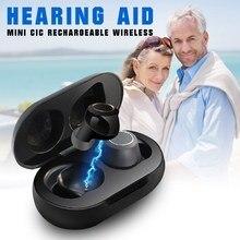 Audífono CIC Invisible para sordos y ancianos, amplificador de voz para ayuda auditiva, pérdida severa, recargable, 1 par