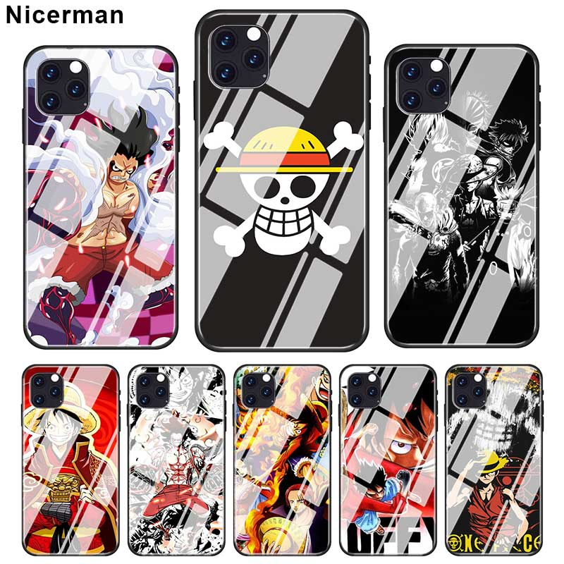 Luffy One Piece Anime Cases For iPhone 12 Mini 11 Pro X XS XR Max 7 8 Plus 6 6S SE 2020 SE 2020 Tempered Glass Cover Phone Coque
