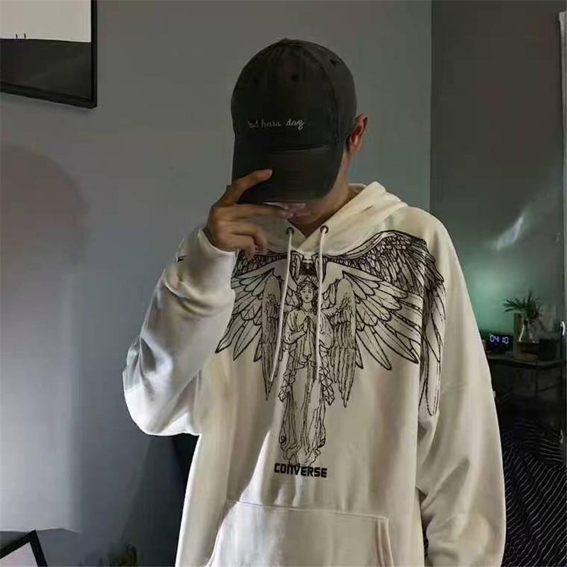 Moletom com Capuz Homens de Alta Hoodies Homens Moda Casual Outono Anjo Impressão Moletom Engraçado Streetwear Punk Rua Topos Meninos Hip Hop