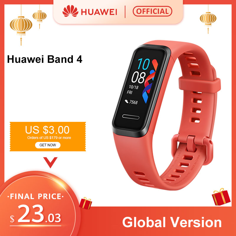 In Stock Gloabl Version Huawei Band 4 Smart Wristband 0.95'' Color Touch AMOLED Screen Swim Posture Detect Heart Rate image