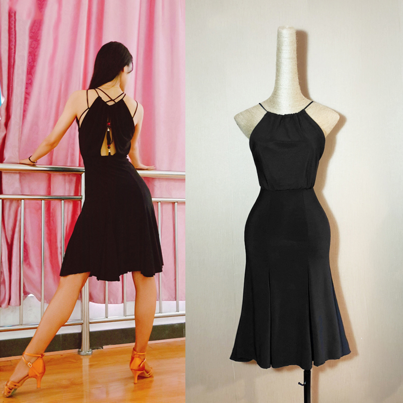 Latin Dance Costume Women Black Practice Clothes Professional Latin Competition Dress Lady Tango Performance Costume DQL1458