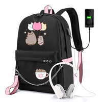 IMIDO Cute Cartoon Student Backpacks Large Capacity Breathable School Bag With USB Charging Chain Bundle Backpack For Girls