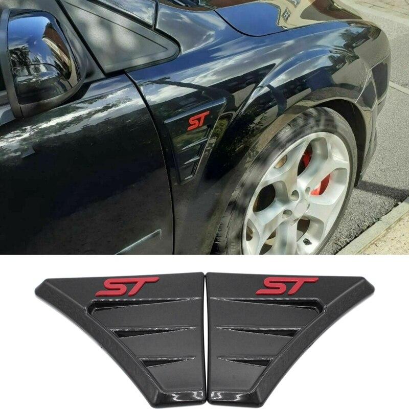 Para ford focus mk 2 2004-2012 st estilo preto brilhante asa lateral fender fluxo de ar grill entrada ventilação guarnição