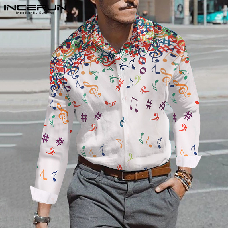 INCERUN Men Casual Elegant Long Sleeve Lapel Shirt Musical Note Printed Streetwear Vacation Beach Comfort Mens Blouse Masculino